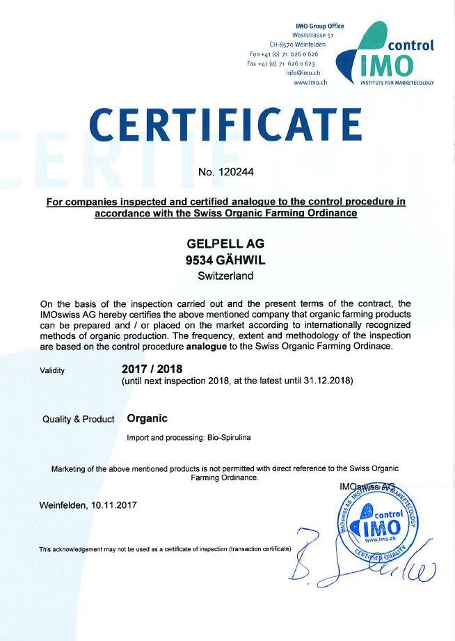 IMO Biozertifizierung Gelpell